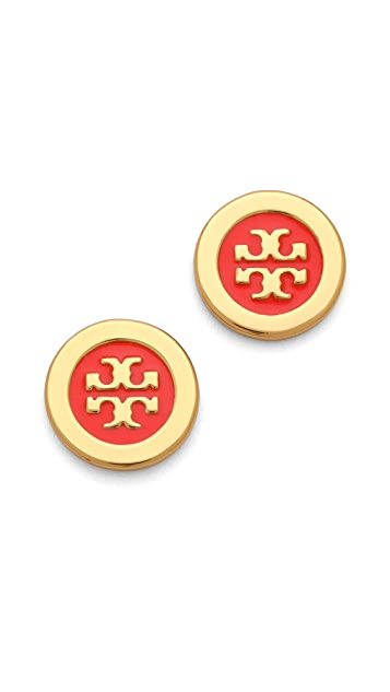 Tory Burch Logo Enamel Stud Earrings