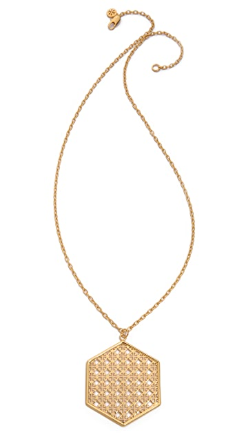 Tory Burch Perforated Logo Pendant Necklace