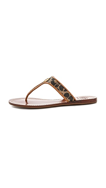 Tory Burch Cameron Leopard Thong Sandals