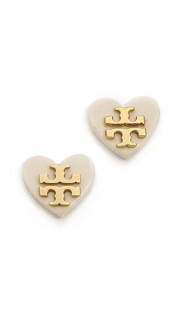 e25b726d0 Tory Burch Tilsim Logo Heart Stud Earrings | SHOPBOP