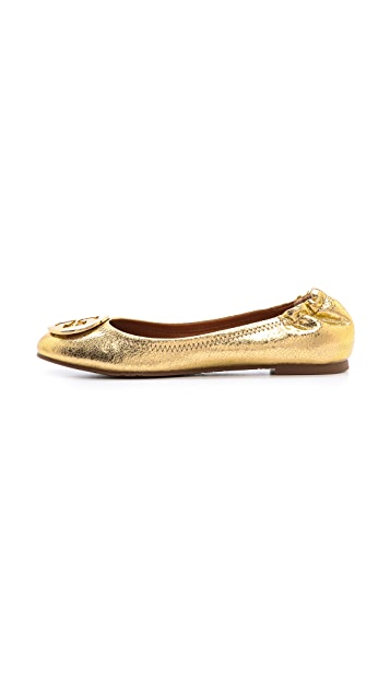 Tory Burch Reva Mirror Crackle Ballet Flats