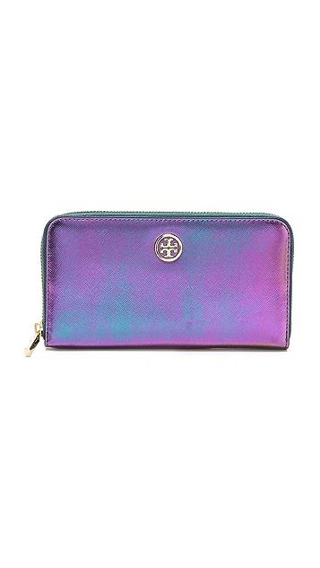 8bd142810acd Tory Burch Robinson Iridescent Zip Wallet | SHOPBOP