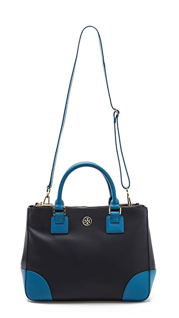 Tory Burch Robinson Color Block Double Zip Tote