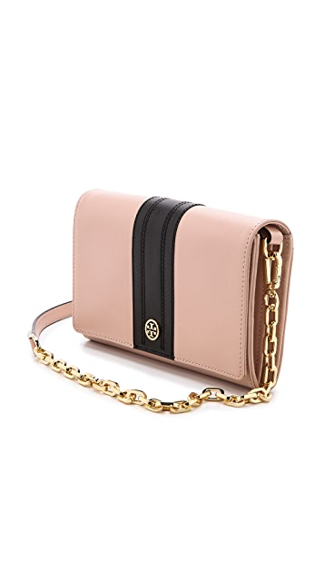Tory Burch Robinson Stripe Chain Wallet