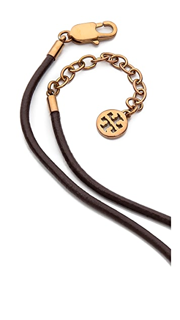 Tory Burch Chrevron Round Pendant Necklace