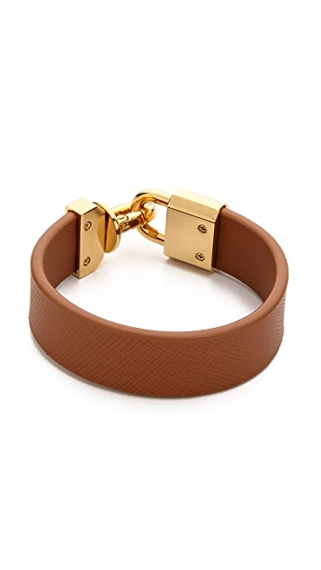 Tory Burch Lock Closure Leather Bracelet