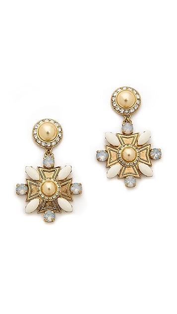 Tory Burch Selma Maltese Cross Drop Earrings