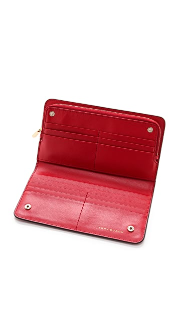 Tory Burch Robinson Hidden Zip Continental Wallet