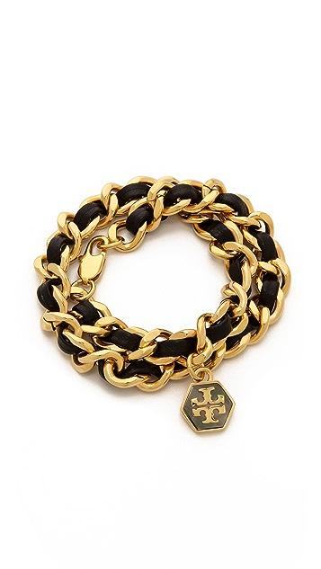 Tory Burch Leather & Chain Wrap Bracelet