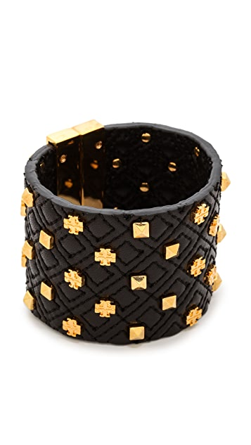 Tory Burch Logo Quilted Leather Bracelet