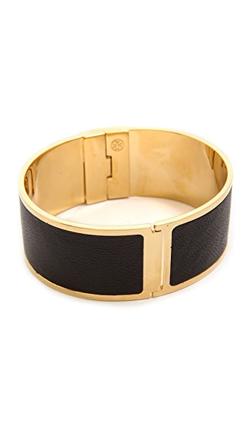 Tory Burch Skinny Leather Inlay Cuff Bracelet