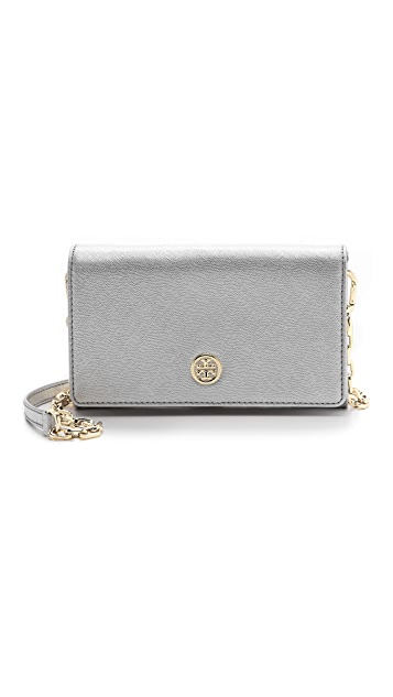 Tory Burch Robinson Metallic Chain Wallet