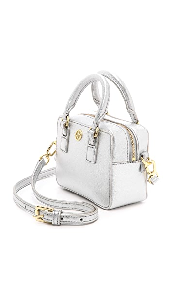 Tory Burch Robinson Metallic Shrunken Boxy Satchel