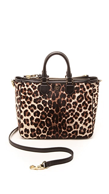 Tory Burch Robinson Leopard Haircalf Square Tote ...