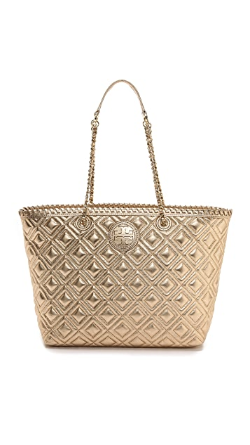 Tory Burch Marion Quilted Metallic Small Tote Shopbop