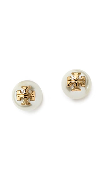 Tory Burch Evie Imitation Pearl Stud Earrings