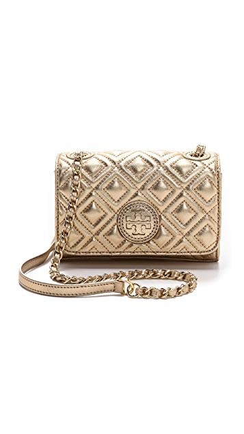 f8174a690b2 Tory Burch Marion Quilted Metallic Shrunken Shoulder Bag