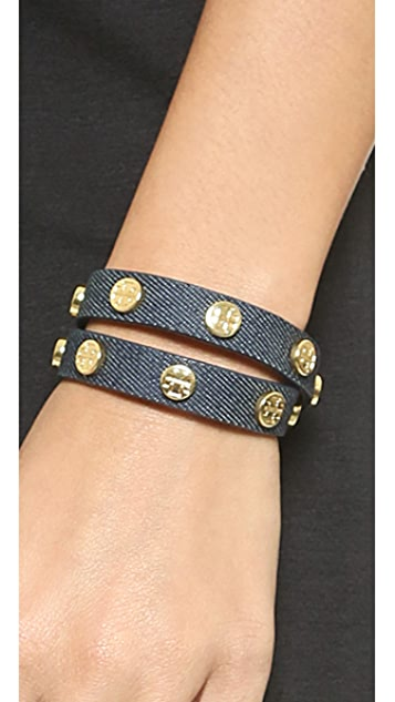 Tory Burch Leather Logo-Stud Double-Wrap Bracelet JzPo5KOz