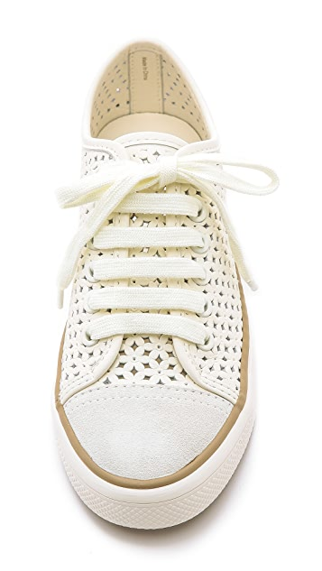 Tory Burch Daisy Perforated Low Top Sneakers