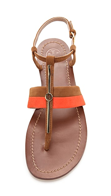 Tory Burch Bar Logo Flat Sandals