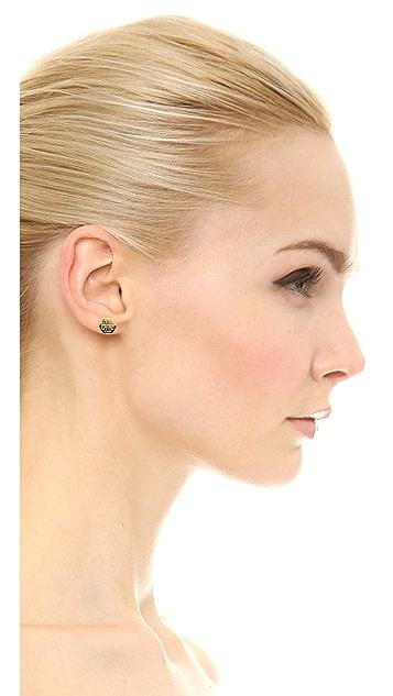 Tory Burch Hexagon Logo Stud Earrings