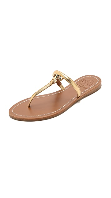 6e1dedb76292 Tory Burch T Logo Flat Thong Sandals