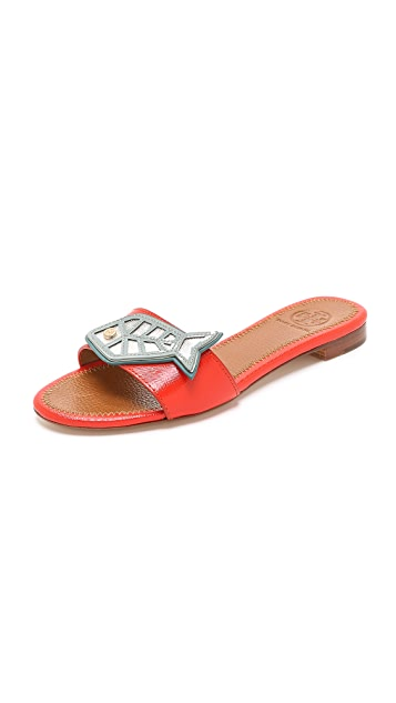 Tory Burch Fish Flat Slides ...