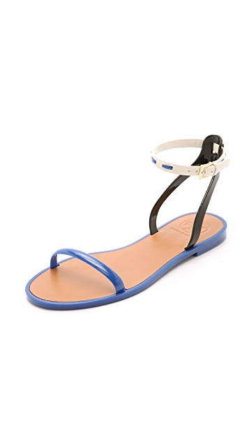 2bf82a67ba29 Tory Burch Leather Ankle Strap Jelly Sandals