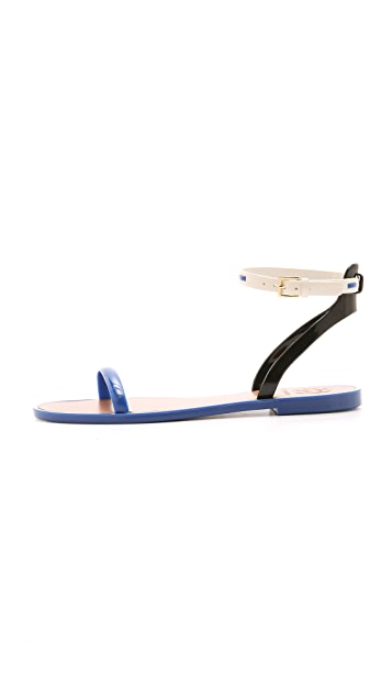 Tory Burch Leather Ankle Strap Jelly Sandals