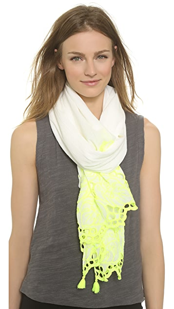 Tory Burch Palm Eyelet Embroidery Scarf