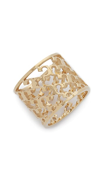 Tory Burch Perforated Serif T Ring