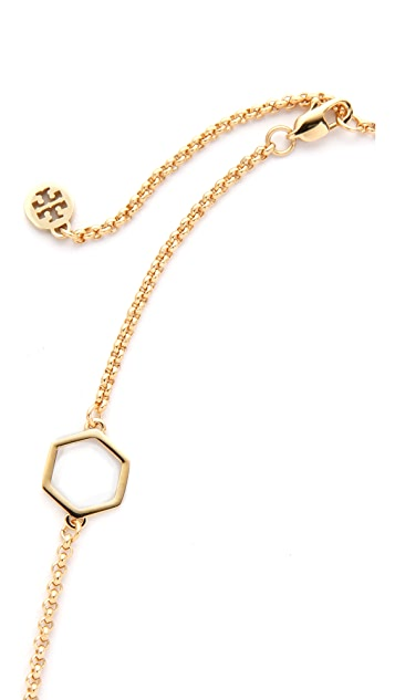 Tory Burch Perforated Charm Short Necklace