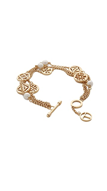 Tory Burch Charm And Imitation Pearl Bracelet