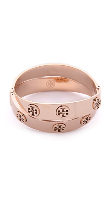 93a3205d4bcf9b Tory Burch Metal Logo Double Wrap Bracelet ...