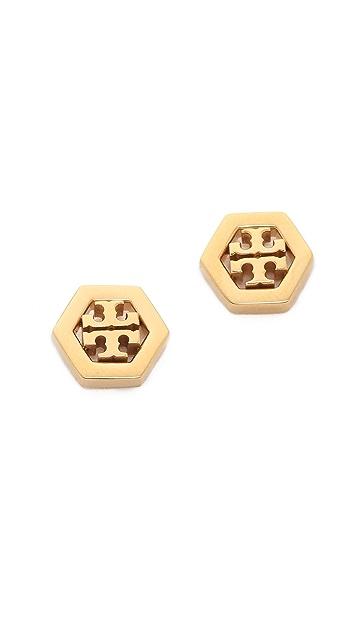 Tory Burch Hex Logo Stud Earrings