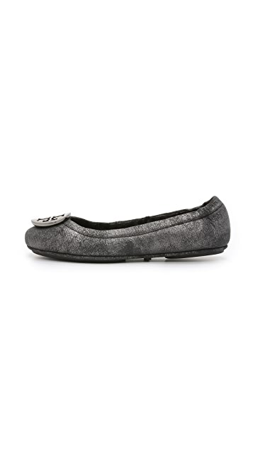 Tory Burch Travel Logo Shearling Ballet Flats