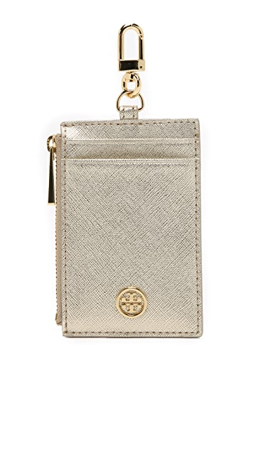 Tory Burch Robinson Metallic Lanyard Card Holder