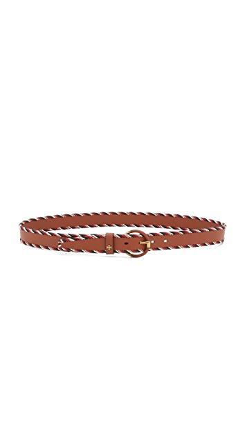 Tory Burch Whipstiched Leather Wrapped Buckle Belt