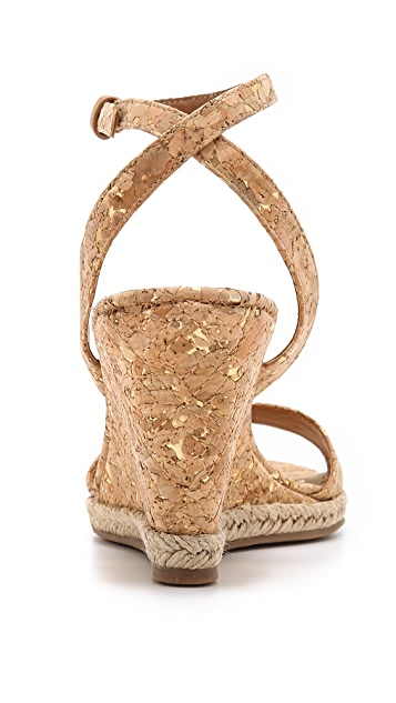 Tory Burch Marion Metallic Cork Espadrille Wedges
