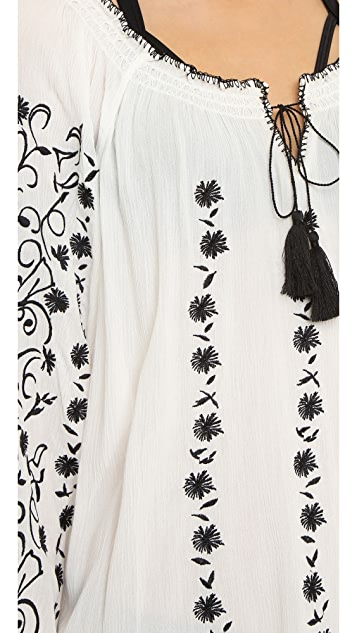 6d26d834f ... Tory Burch Embroidered Crinkle Gauze Top