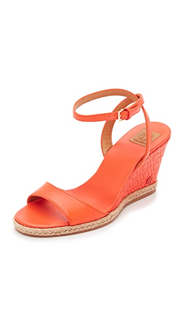 0546a0aa4171 Tory Burch Marion Quilted Wedge Sandals