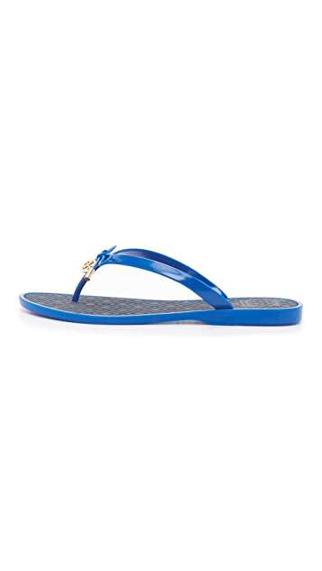 Tory Burch Two Tone Jelly Bow Thong Sandals