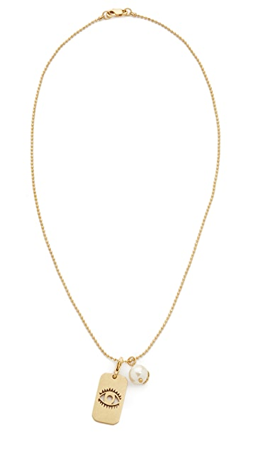 Tory Burch Evil Eye Charm Dog Tag Necklace