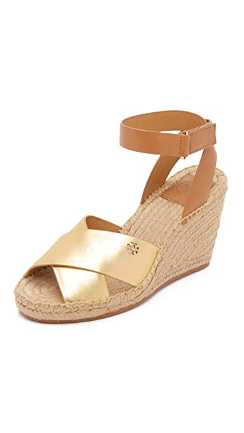 Tory Burch Bima Metallic Wedge Espadrilles