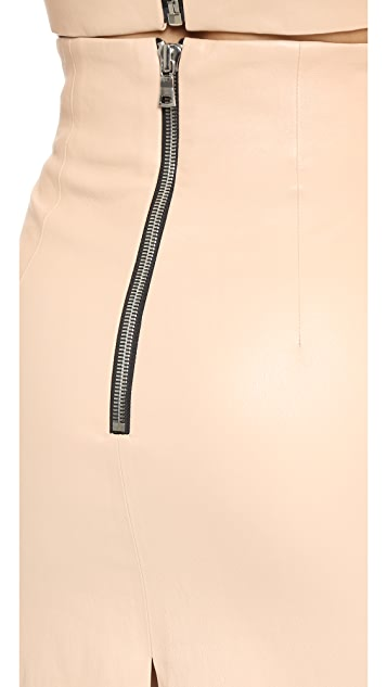 ThePerfext Amsterdam Stretch Leather Skirt