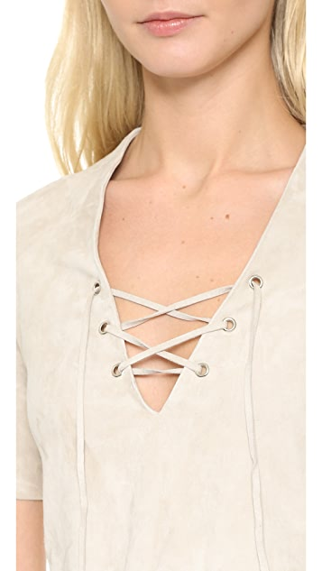 ThePerfext Stretch Suede Crop Top