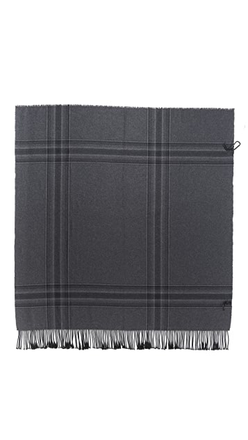 3.1 Phillip Lim Fringed Wrap Blanket Scarf with Carabiner Fastener
