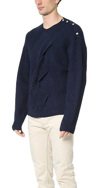 3.1 Phillip Lim Military Rib Sweater with Oversized Center Braid