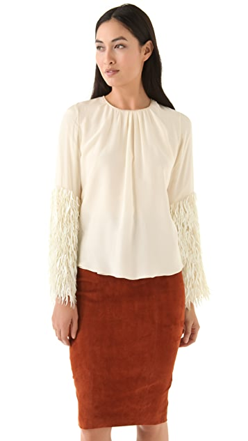 Tribune Standard Feather Sequin Bell Sleeve Top