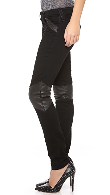 True Religion Super Skinny Moto Pants with Leather Trim
